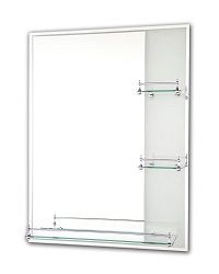 Tema Etched Mirror Rectangular 80 x 60CM With 3 Shelves