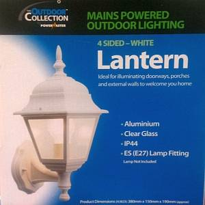 4 sided wall lantern white