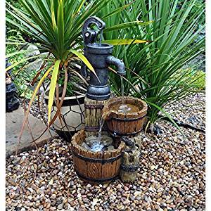 Twin Barrel and Hand Pump Water Feature