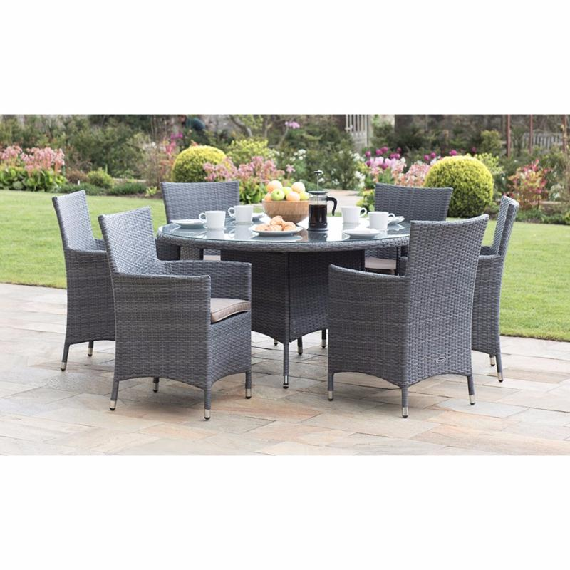 The Malaga Rattan 6 Seater Round Furniture Set Is A Dining Set In Stylish  Grey Rattan That Offers Comfortable Dining For Up To Six People.