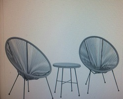 Monaco String Egg Chair Set Grey