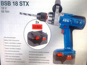 AEG BSB18STX-18VOLT PERCUSSION DRILL WITH 2 X 3.0A
