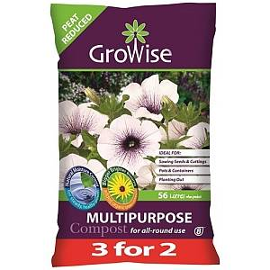 GROWISE MULTI COMPOST WITH J INNES 56L 3 FOR 2