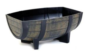 WOOD EFFECT RESIN BARREL HALF PLANTER
