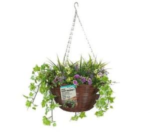 Faux Décor Lilac Hanging Easy Basket