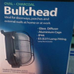 Bulkhead Oval Charcoal Caged
