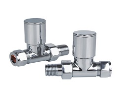 "1/2"" Chrome Straight Radiator Valve (Pair)"