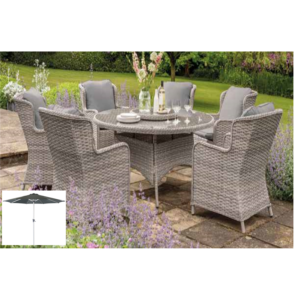 EDEN ROSE 6 SEATER 1.5M ROUND SET W/LAZY SUSAN, PARASOL & COVER