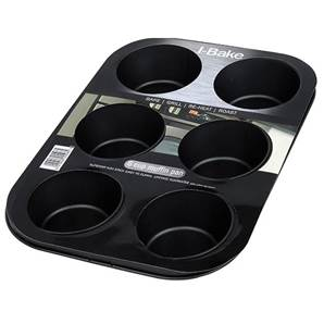 I-Bake 6 Cup Non-stick Deep Muffin Pan