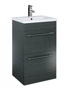 Cairo Gloss Grey 2 Drawer Floor Unit & Basin - 60 cm